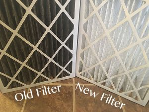 Old and new HVAC air filter comparison